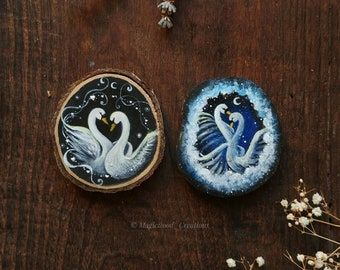 Set of 2 ornaments with white swans painted on wood, love swans, animal spirits, gift idea