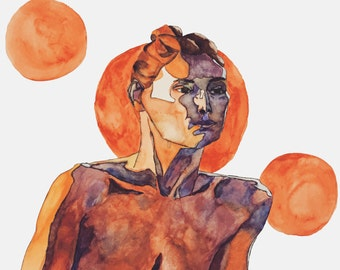 Many Moons - watercolor art print, orange portrait - limited edition!