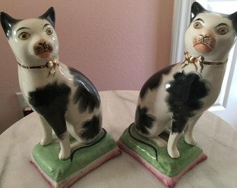 Rare Antique Staffordshire Cats