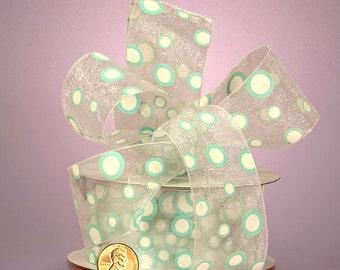 """5YDS Whimsical """"Pop Dots"""" 1-1/2"""" Ribbon Sheer Light Blue & White Polka Dot"""