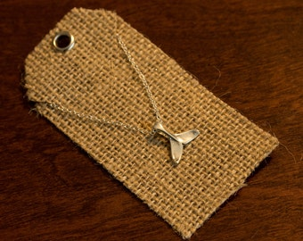"""Sterling Silver Whale Necklace - Whale Jewelry, Whale Tail Necklace, Whale Tail Jewelry, Silver Whale, Silver Wale Tale, 18"""" Necklace"""