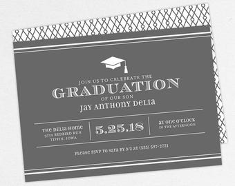 Graduation Invitation, Graduation Announcement, Printable Invite, Invitation PDF, DIY Graduation, Printed, Modern, Boy, Stripes, Gray, Jay