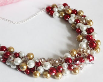 Champagne and Red Pearl Cluster Necklace Bridesmaid Gift Chunky Necklace Valentine Gift Red and Black Necklace Bridesmaids Necklace