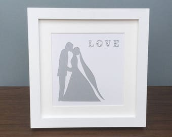 Wedding present / wedding gift / Bride and Groom / Mr and Mrs / Love / framed art work.