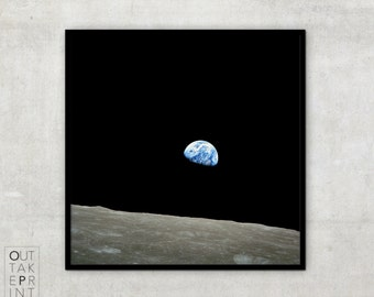 """Fine art print of Epic Vintage Photography """"Earthrise"""" from Apollo 8 mission,"""