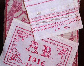 Set of 2 Imparaticci, Antique Sampler, 1916-1937, Hand embroidered, school embroidery, cross stitch, red thread, cotton and linen, monogram