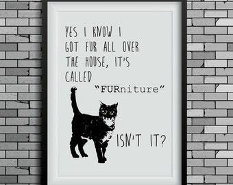funny cat art, cat print, wall decor, cat lover gift