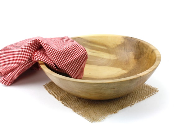 "Wooden 11"" Sweet Gum Salad Bowl / Wooden Serving Dish / Pasta Bowl"