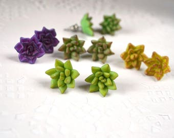nature jewelry flower jewelry tiny stud earrings garden jewelry green stud Succulent earrings polymer clay jewelry mint green jewelry gift
