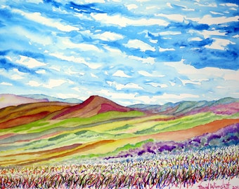 Rolling  hills with purple sage, New Mexico landscape