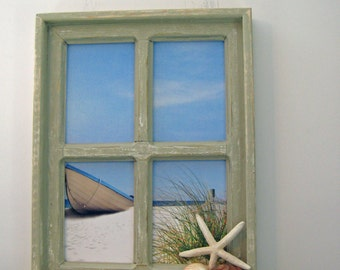 Rustic Window Beach Scene