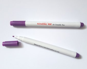 Air erasable fabric marking pen. Disappearing ink pen for quilting and dressmaking