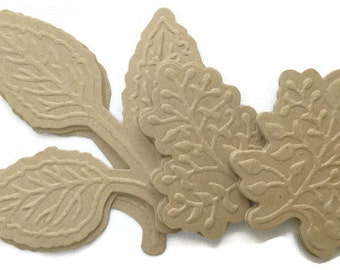 EMBOSSED BOTANICAL LEAVES  -  Chipboard Die Cuts & Bare Foliage Alterable Embellishments