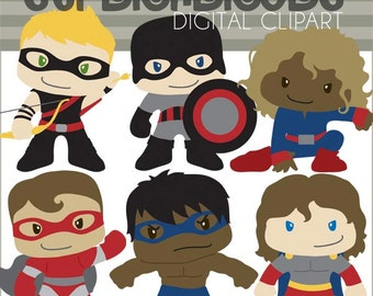Super Hero Clipart Set -Personal and Limited Commercial- Superheroes Clipart