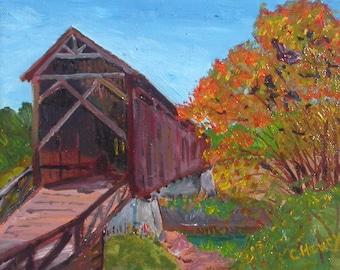 Covered Bridge Acrylic Painting