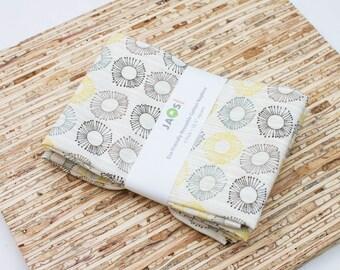 Large Cloth Napkins - Set of 4 - (N3817) - Cream Stripe Circles Modern Reusable Fabric Napkins