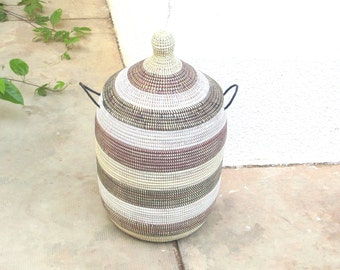 Wicker Laundry Basket, Striped Storage Chest, Cream, Black White and Brown,Cesto,Wäschekorb