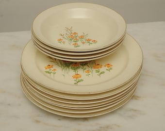 1950s Taylor Smith Pottery Dinner Set MADE IN USA