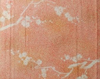 "14""w. x 14.9""l. Vintage kimono silk fabric coral pink UME plum blossom 2831G"