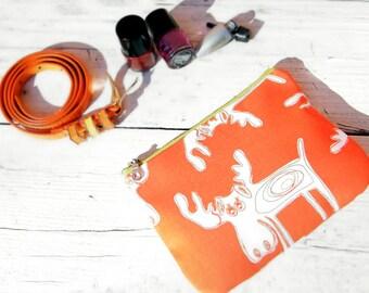 Makeup bag organizer Orange deer zippered pouch Womens zipper pouch Christmas gift her Cosmetic bag Gadget bag  Brush Holder Pencil case