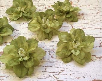 6 APPLE GREEN Delphinium Blossoms- Artificial Flowers, Silk Flowers, Flower Crown, Hair Accessory, Millinery, Wreath, Wedding