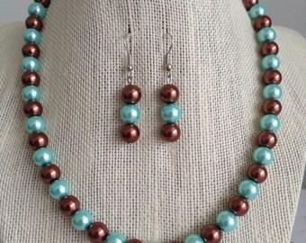Aqua Blue Wedding Jewelry Set, Robin Egg Blue Pearl Necklace, Aqua Blue and Brown Pearl Jewelry, Light Blue Bridesmaid Jewelry Gift