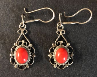 Vintage Sterling Silver Earrings with a Coral Stone
