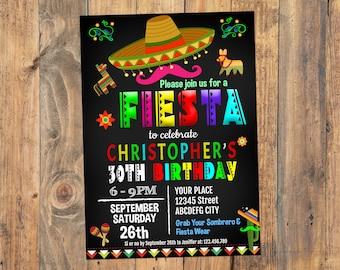 30th 40th 50th Birthday Invitation,  Fiesta Invitation, Fiesta Birthday Invitation, Fiesta Party Invitation, Instant Download, Editable PDF