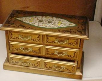 Florentine Jewelry Box Vintage French Cottage Chic