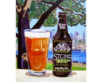 Stone Brewing IPA Beer Art, San Diego Painting, California Craft Beer Gift for Brother, Groomsmen Gifts, Man Cave Beer Poster, Art for Him