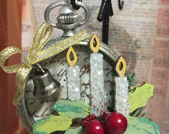 Vintage pocket watch case repurposed diorama candles ornament
