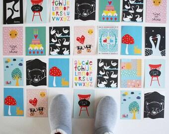 Ausverkauf! Große Menge von 14 verschiedene illustrierte bunte Postkarten