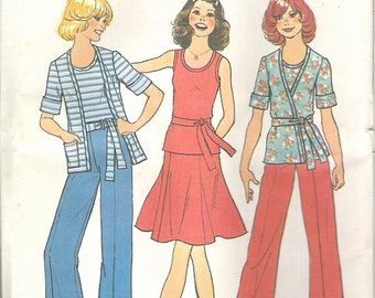 1970's Sewing Pattern - Simplicity 7405 Teen Crossover Top, Pants, Skirt Size 11/12 Uncut, Factory Folded