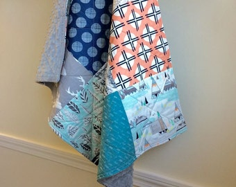 Baby Quilt, Cradle Quilt, Car Seat Quilt, Carry Quilt, Baby Shower Gift, Teal, Grey, Coral, Mint, Navy, Minky Back Quilt, Baby Blanket,