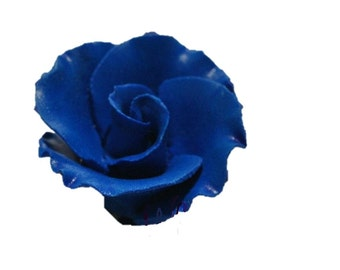"1.5"" Royal Blue Formal Rose Flower - Set of 3 Gumpaste"