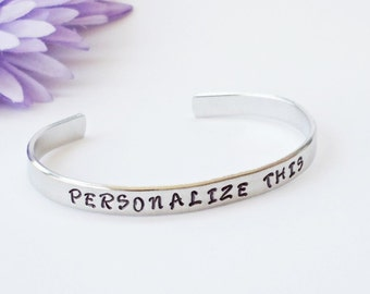Silver Bracelet Cuff - Personalized Phrase - Personalized Bracelet - Custom Bracelet - Aluminum Cuff - Religious Jewelry