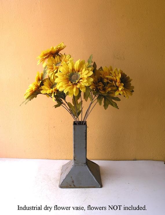 Industrial Gray Vase Unique Flower Holder Mens Housewarming