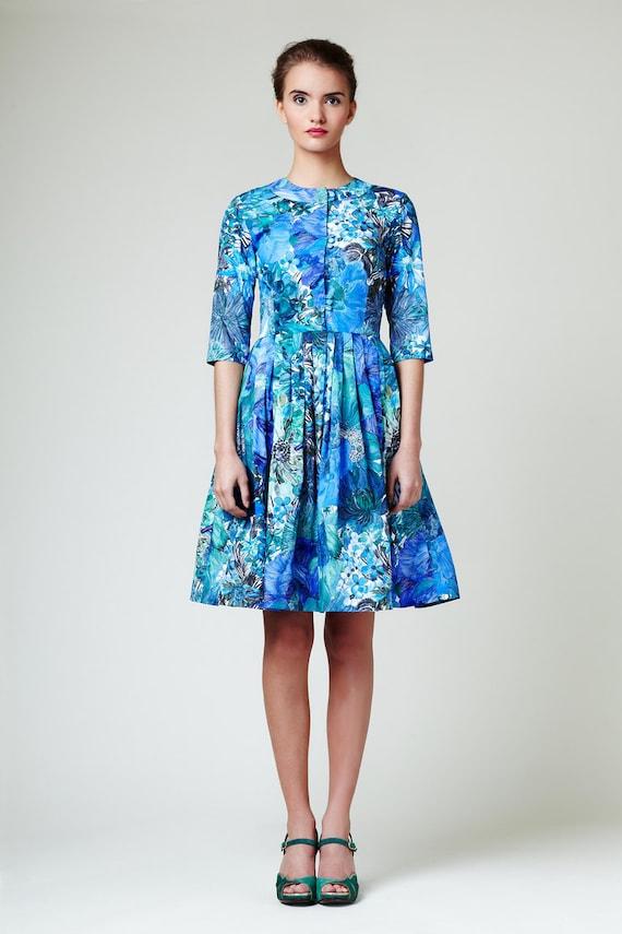 Shirtwaist dress blue Liberty print dress Wedding guest dress