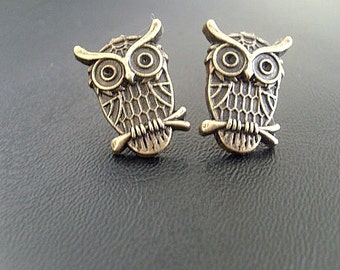Brass Owl Stud  Earrings, halloween earrings, fall earrings, autumn earrings