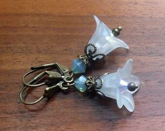 Flower earrings, woodland jewelry, bell flowers, light teal flower earrings, Boho earrings, dangle earrings, gift for women, gardeners,