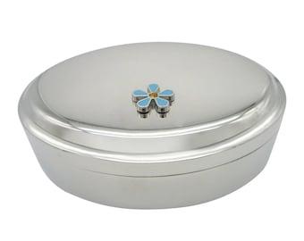 Turquoise Flower Pendant Oval Trinket Jewelry Box