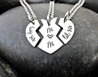 Big Sis - Mom - Lil Sis - Matching Sister Necklaces - Big Sister - Little Sister - Big Sis Little Sis - Big Mom Little - Sister Necklace Set