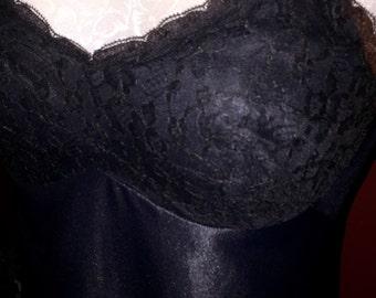 Free Shipping Vintage Black Nylon Lace Kayser Slip