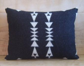 Wool Pillow - Arrow Black White Tribal Native Geometric