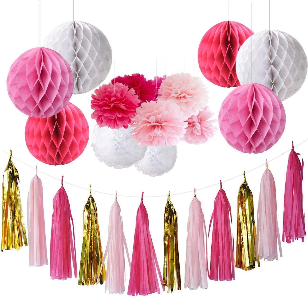 Set of 15 Fuchsia Pink Gold White Party Decoration Kit Tissue