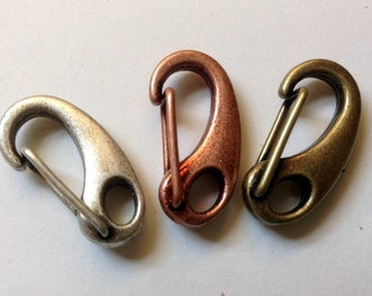 Qty 4 Mini Ornate Lobster Clasp  Antique Copper, Brass, Silver 25mm -  Free Shipping USA