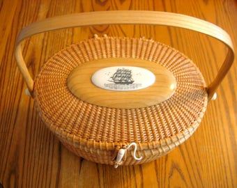 Authentic Signed Nathan Taylor NANTUCKET LIGHTSHIP BASKET American Basket Maker