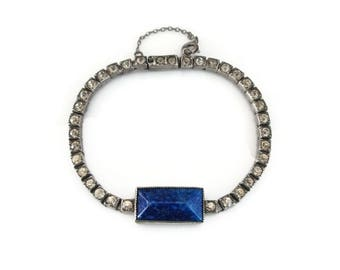 Art Deco Sterling Bracelet - Lapis Glass, Art Glass, Clear Rhinestones, Sterling Silver, Art Deco Jewelry, Antique Bracelet