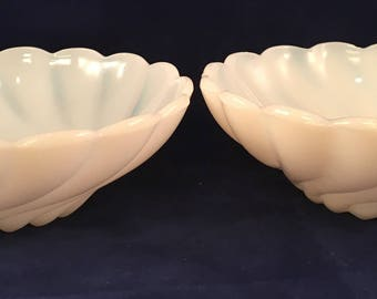 Vintage White Milk Glass Berry Bowls