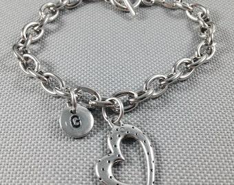 Heart charm bracelet, personalized bracelet, toggle bracelet, heart charm, love bracelet, initial bracelet, silver bracelet